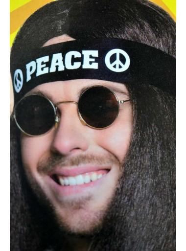 1 Bandeau noir hippie PEACE