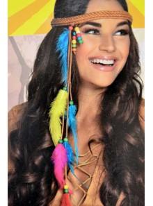 1 Bandeau à plumes hippie fille