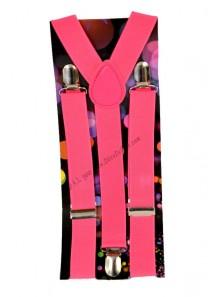 1 paire de bretelles rose fluo