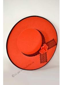 1 chapeau espagnol rouge dentelle noire