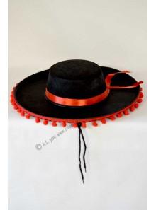 1 chapeau espagnol avec pompons rouges