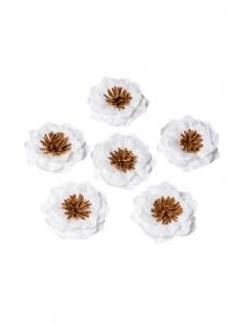 6 fleurs adhésives blanche et camel