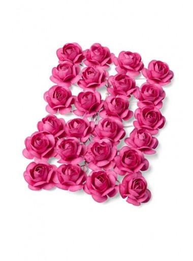 24 mini Roses papier fushia
