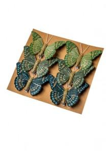 6 papillons exotiques verts à paillettes