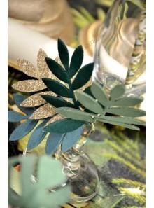 4 feuilles de palme vert et paillette or