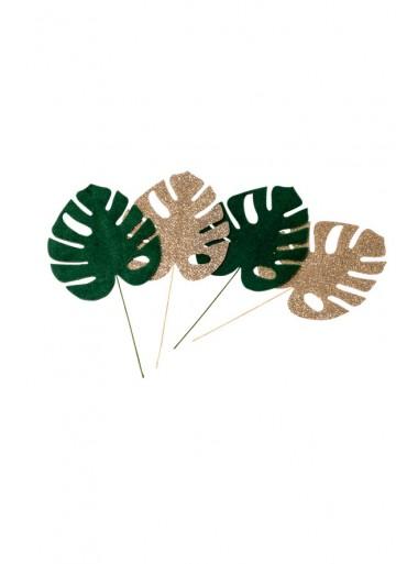 4 petites feuilles tropicales vert et paillette or