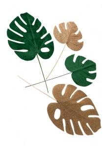 4 GRANDES feuilles tropicales vert et paillette or
