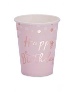 8 gobelets Happy Birthday rose gold
