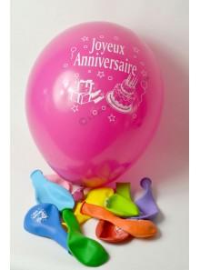 8 ballons multicolores Joyeux Anniversaire