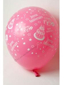 8 ballons ROSE Joyeux Anniversaire