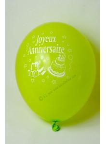 8 ballons VERT ANIS Joyeux Anniversaire