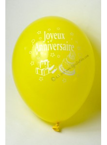 8 ballons JAUNES Joyeux Anniversaire