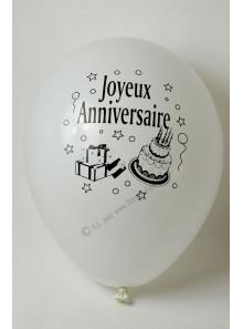 10 ballons BLANC Joyeux Anniversaire