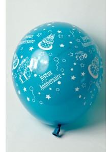 8 ballons TURQUOISE Joyeux Anniversaire