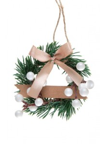 1 couronne sapin marque-place BLANC