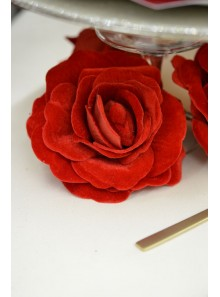 1 rose velours rouge