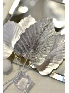 6 mini feuilles exotiques ARGENT