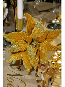 1 Poinsettia paillettes et velours camel or