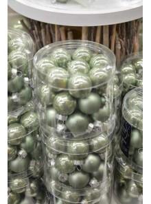 24 mini boules vert brillant et mat
