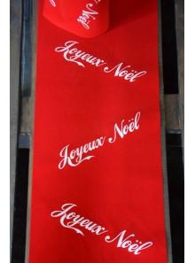 3M chemin de table VELOURS rouge  Joyeux Noël blanc