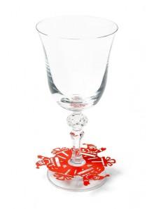 10 décorations de verre PERE NOEL rouge