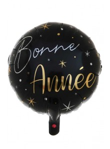 1 ballon métal  BONNE ANNEE  noir