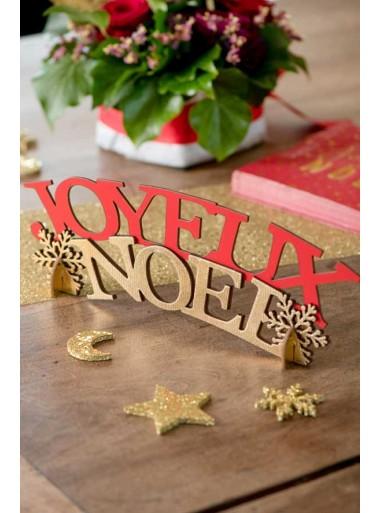 1 centre de table Joyeux Noel rouge