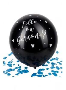 1 ballon Fille ou Garçon confettis bleu !