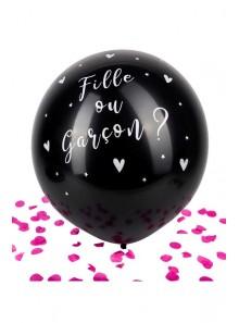 1 ballon Fille ou Garçon confettis rose !