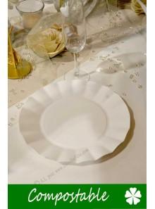 8 grandes Assiettes HOME COMPOSTABLE blanc