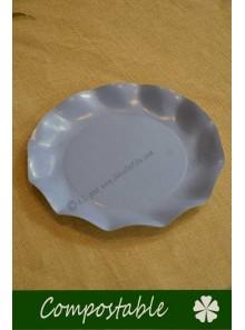 8 grandes Assiettes HOME COMPOSTABLE bleu lavande