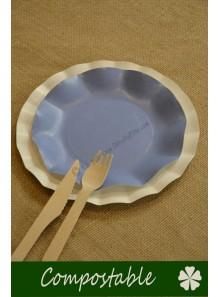 8 petites Assiettes HOME COMPOSTABLE bleu lavande