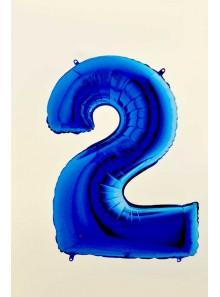 1 ballon CHIFFRE 2 BLEU ROY 102cm