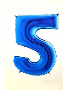 1 ballon CHIFFRE 5 BLEU ROY 102cm