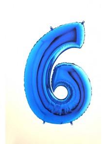 1 ballon CHIFFRE 6 BLEU ROY 102cm