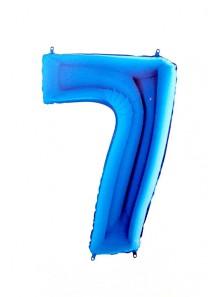 1 ballon CHIFFRE 7 BLEU ROY 102cm