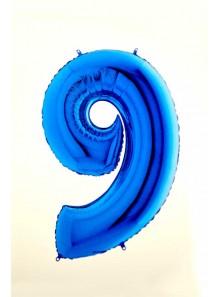 1 ballon CHIFFRE 9 BLEU ROY 102cm