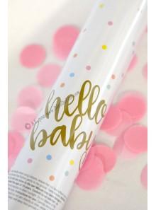 1 canon à confettis Hello Baby rose