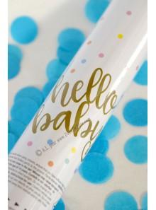 1 canon à confettis Hello Baby bleu