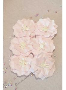 6 Fleurs adhésives rose pistil blanc