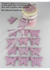 15 Papillons gomme rose parme