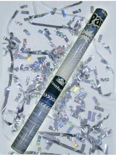 1 Canon à confettis rectangle argent 60cm