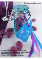 12 Etiquettes biberon turquoise