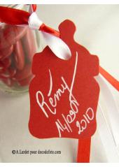 12 Etiquettes biberon rouge