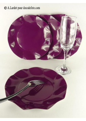 10 Assiettes à dessert fleur prune