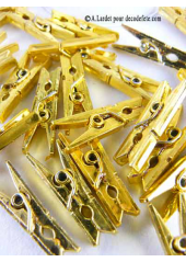 24 Pinces à linge éclat d'or