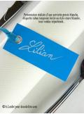 12 Etiquettes ruban turquoise