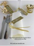 12 Etiquettes ruban or