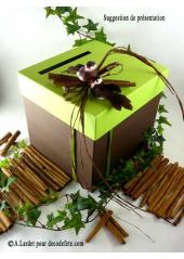 1 Urne carrée vert anis et chocolat