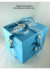 1 Urne tirelire carrée turquoise